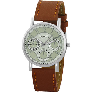 Howdy White Dial With Brown Leather Strap Analog Watch