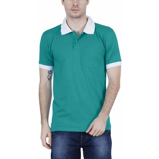 a0fa9586ed3 Fleximaa Men s Cotton Polo Collar T-Shirts With Pocket Attractive Opposite  Color Collar   Cuff - SHADE GREEN COLOR