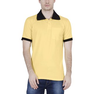 e058eb61692 Fleximaa Men s Cotton Polo Collar T-Shirts With Pocket Attractive Opposite  Color Collar   Cuff - YELLOW COLOR