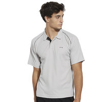 BONATY Grey Polyester With Moisture Management Polo Neck Half Sleeves Solid Sports T Shirt For Men