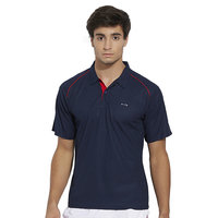 BONATY Navy Blue Polyester With Moisture Management Polo Neck Half Sleeves Solid Sports T Shirt For Men