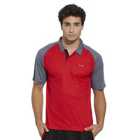 BONATY Red Polyester With Moisture Management Polo Neck Half Sleeves Solid Sports T Shirt For Men
