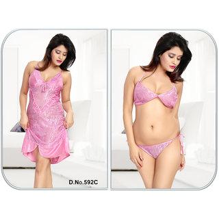 47a9d84b82 Sleep Wear set 3pc Bra Panty Babydoll New Sheer Night Wear Fancy Bed Dress  Honeymoon