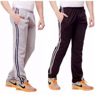 Combo Of 2 Black and Grey Track Pants For Boys