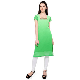 Trend Factory Green Colored Cap Sleeve And Square Neck Kurti
