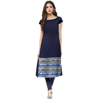 Trend Factory Blue Colored Cap Sleeve And Boat Neck Kurti