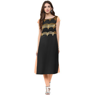 Trend Factory Black Colored Cap Sleeve And Boat Neck Kurti