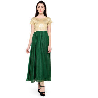 Trend Factory Green Colored Cap Sleeve And Boat Neck Kurti