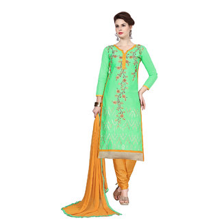 Rk Fashions Green cotton Dress Material (Unstitched)