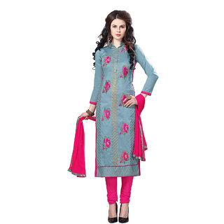 Rk Fashions Grey cotton Dress Material (Unstitched)