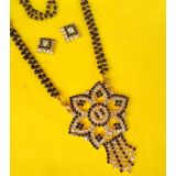 EXCLUSIVE DESIGNER CZ DIAMONDS  GOLD PLATED MANGALSUTRA WITH STUD