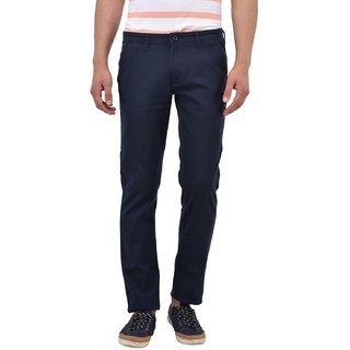 Blue Buddha Men's Navy Cotton Slim Fit Trouser