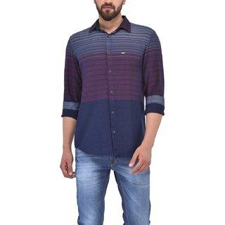 Blue Buddha Men's  Red Cotton Slim Fit Shirt