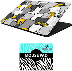 FineArts Combo of Alphabet Design - LS5196 Laptop Skin and Mouse Pad