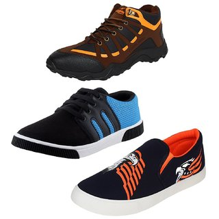 Chevit Men's Trio Pack of 3 Outdoor Casual Running Shoes (Joggers and Sports Shoes)