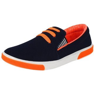 Chevit Men's Stylish 421 Blue Orange Strapp Outdoor Sneakers Shoes (Casual Shoes)