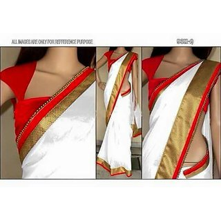 Red and White Brocate Work Cotton Saree With Blouse