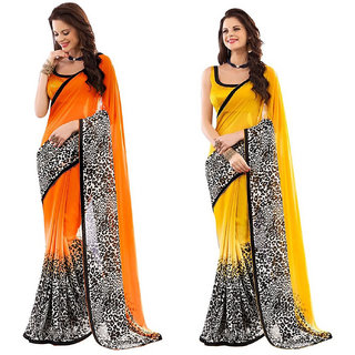 Orange and Yellow Georgette Printed saree with Blouse piece