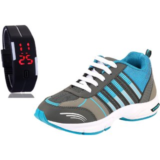 Chevit Men's COMBO  Blue Running Shoes With LED Watch Bracelet - Adjustable Band - SCRATCH-LESS Display