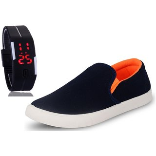 Chevit Men's COMBO 101 Casual Loafers Shoes With LED Watch Bracelet Adjustable Band - SCRATCH-LESS Display
