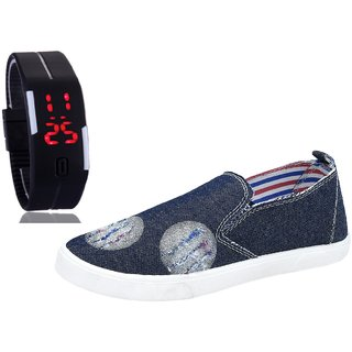 Chevit Men's COMBO 107 Casual Loafers Shoes With LED Watch Bracelet Adjustable Band - SCRATCH-LESS Display