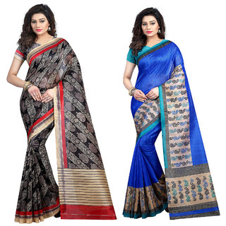 Multicolor Printed  Bhagalpuri Silk Bollywood Style Bhagalpurisilk Saree With Blouse