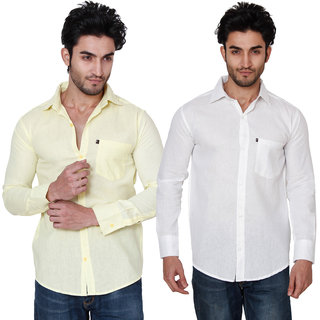 Black Bee Combo Of 2 Plain Casual Slim fit Poly-Cotton Shirts For Men's
