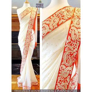 white plain georgette saree with blouse piece