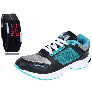 Chevit Men's COMBO 412 Sports Running Shoes With LED Watch Bracelet Adjustable Band - SCRATCH-LESS Display