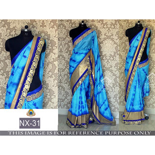 blue printed georgette saree with blouse piece