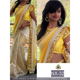yellow printed georgette saree with blouse piece