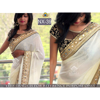 white printed georgette saree with blouse piece