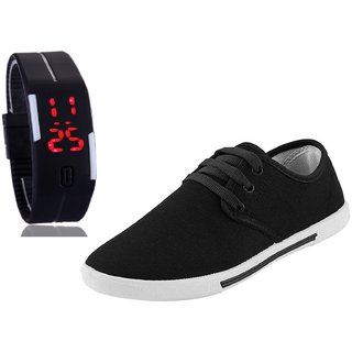 Chevit Men's COMBO 109 Casual Sneakers Shoes With LED Watch Bracelet Adjustable Band - SCRATCH-LESS Display