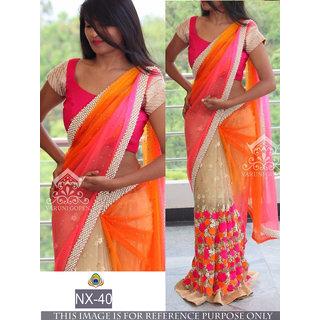 orange printed georgette saree with blouse piece