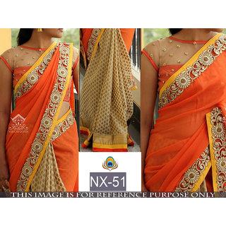 orange plain georgette saree with blouse pice