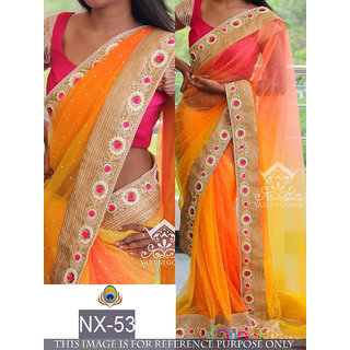 orange plain gerogette saree with blouse pice