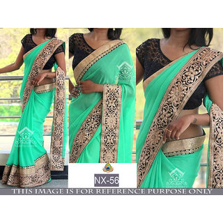 green plain georgette saree with blouse pice