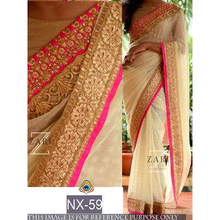 beige plain georgette saree with blouse pice