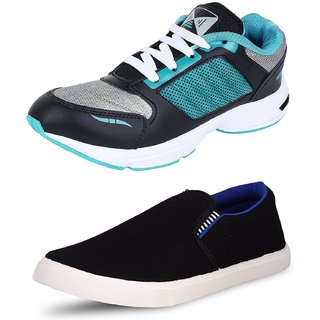 Chevit Men's COMBO Pack of 2 Outdoor Black Sneakers Shoes and Running Shoes (Casual Shoes)