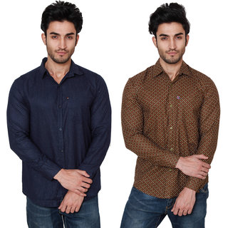 Black Bee Combo Of 2 Printed Casual Slim fit Poly-Cotton Shirts For Men's