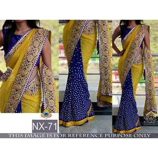 yellow printed georgette saree with blouse pice