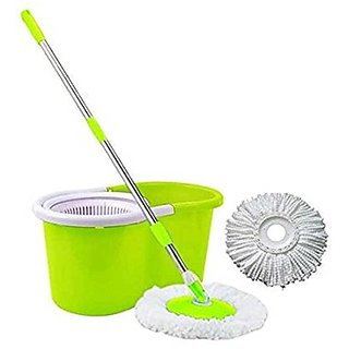 Easy Go 360 Spin Mop Rotating Steel Pole  Plastic Bucket with 2 Microfiber Heads (Random Color)