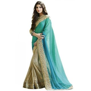 Sargam Fashion Embroidered Light Blue And Beige Georgette Traditional PartyWear Saree. - SRMBBLUECORD
