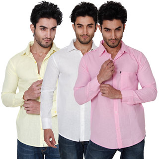 Black Bee Men's  Slim Fit Casual Poly-Cotton Shirt Combo Of 3