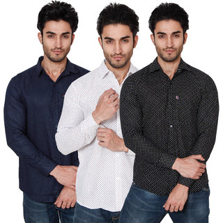 52100a18dcc Buy Black Bee Men s Regular Fit Casual Poly-Cotton Shirt Combo Of 3 Online  - Get 42% Off