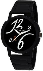 Golden Bell Original Black Dial Wrist Watch with Black Chain for Men