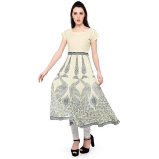 Ahalyaa cream cotton anarkali kurti for women