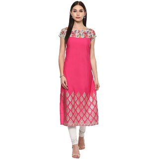 Ahalyaa Pink faux crepe floral metallic print digital kurti