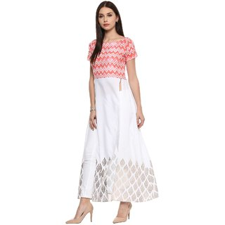 Ahalyaa Pink & White Kurti Gown Indo western Top