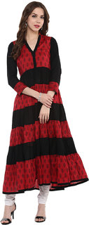 IVES Red Anarkali cut printed kurti made of Cotton-KT114503Black